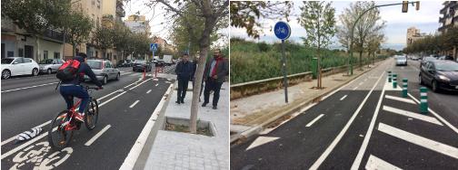 El tram ja urbanitzat (esquerra) i espai on continuaran les obres al 2019 (dreta). Fotos: Ajuntament