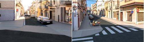 Recreació virtual de la reurbanització el carrer de Catalunya